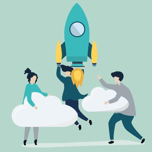 Un peuple tenant une fusée lancée et des nuages