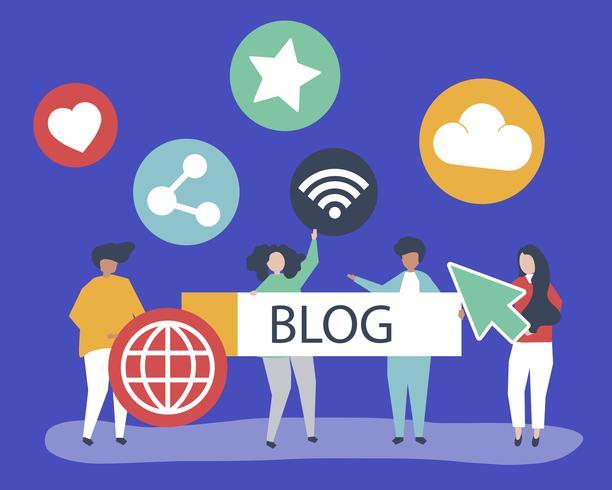 Karaktär illustration av personer som håller bloggar ikoner