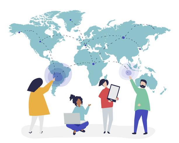 Illustration de caractère de personnes avec le concept de réseau global