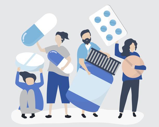 Charaktere von den Leuten, die pharmazeutische Ikonenillustration halten