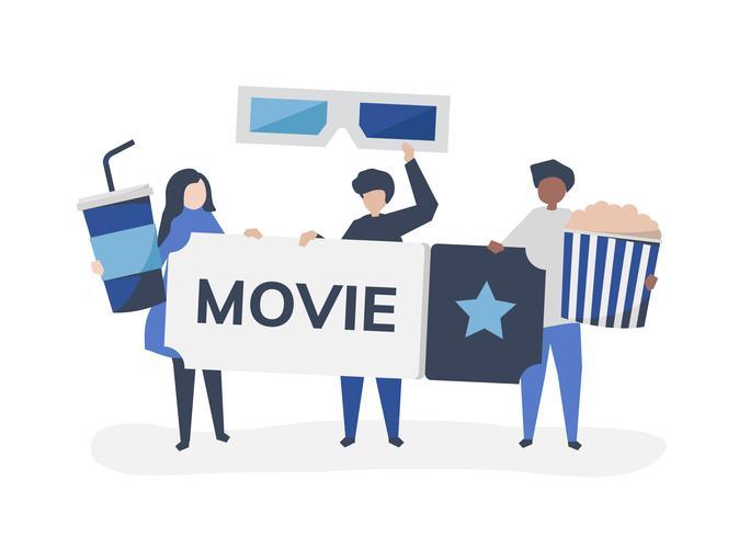 Illustration de personnage de personnes avec l'icône de films