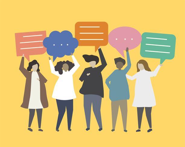 Pessoas, com, fala, bolhas, ilustração