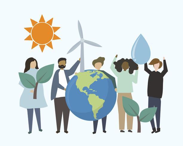 Personas con ilustración de recursos energéticos renovables.