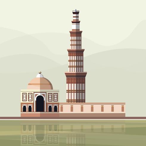 Illustratie van de Qutub Minar