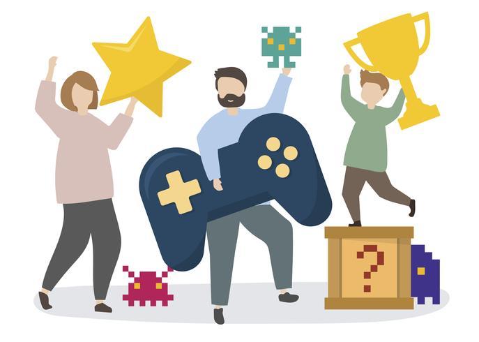 Gente con ilustración de iconos de juegos