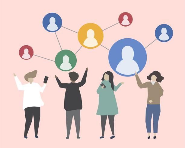 Conectar personas entre sí ilustración