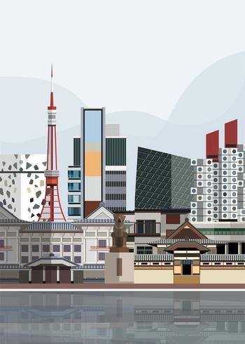 Illustration av japanska landmärken