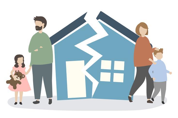 Famille se séparant et divorçant vecteur