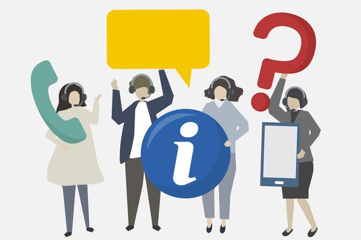 Atendimento ao cliente com ilustração de ícones