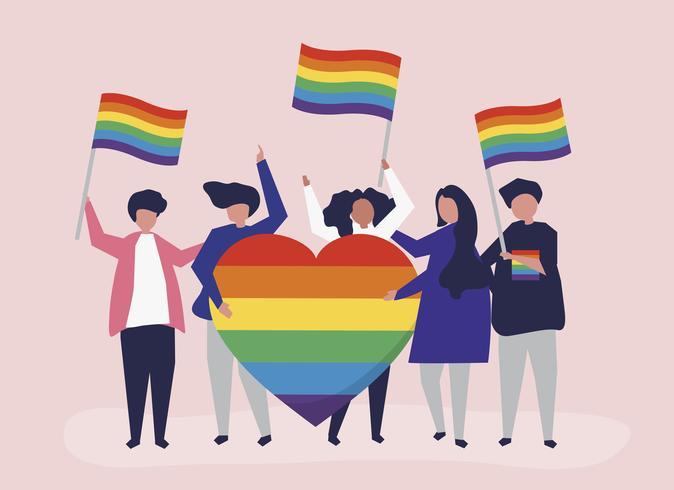 Ilustração de personagens de pessoas segurando ícones de apoio LGBT
