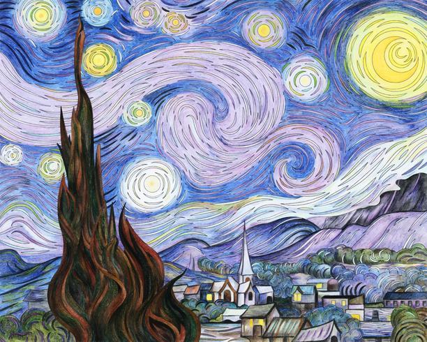 La noche estrellada (1889) de Vincent van Gogh: adulto para colorear