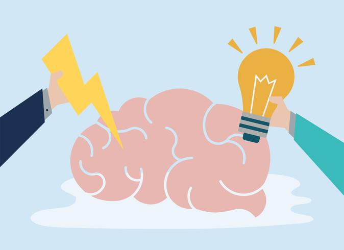 Creative idea and thinking brain icon