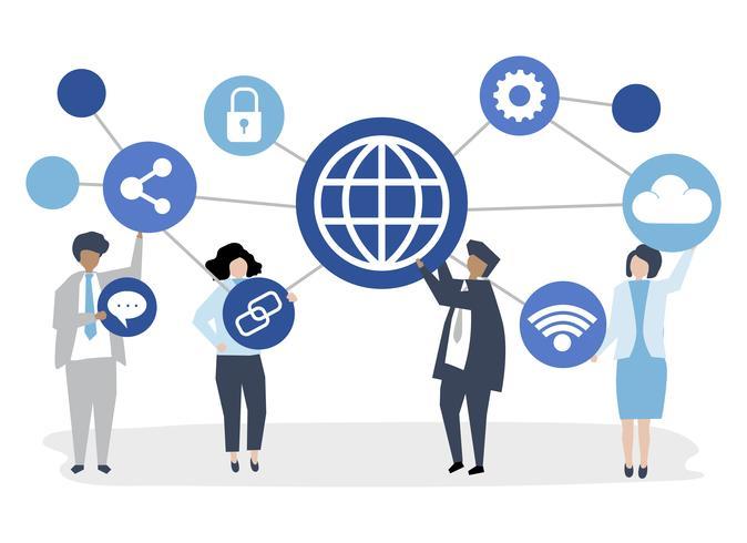 Ilustración de personaje de gente de negocios con iconos de conexión