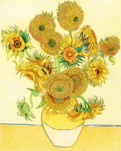 Solrosor (1889) av Vincent van Gogh: vuxen färgläggningssida