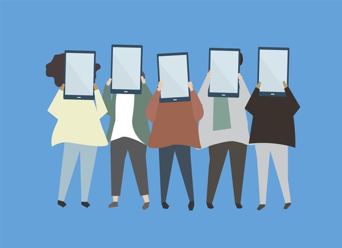Människor som håller digitala tabletter illustration