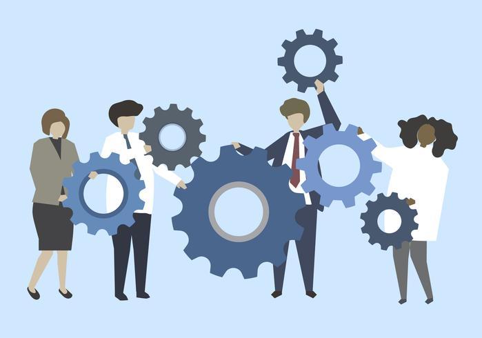 Affärsmän som förbinder med kuggar illustration
