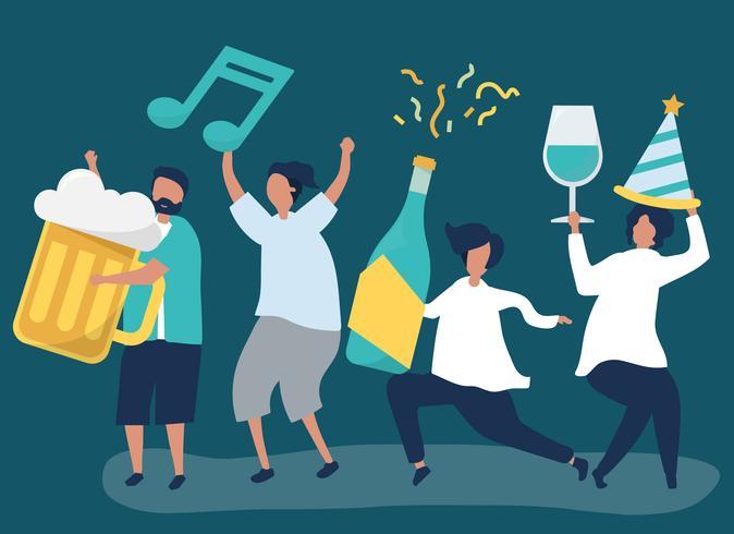 Amis faire la fête et boire des boissons différentes