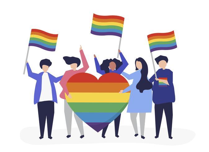 Illustration de personnages de personnes détenant des icônes de soutien LGBT