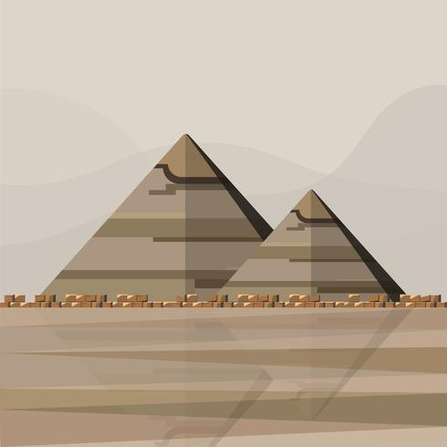 Illustration av de egyptiska pyramiderna