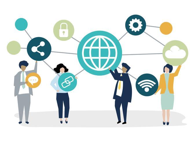 Ilustração de personagem de pessoas de negócios com ícones de conexão