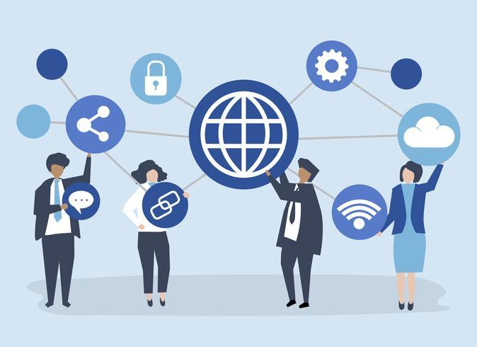 Illustration de caractère des gens d'affaires avec des icônes de connexion