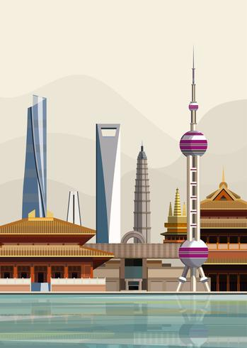 Ilustración de los monumentos de la ciudad de Shanghai
