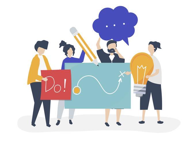 Illustrazione di carattere di persone che tengono le icone di idee creative