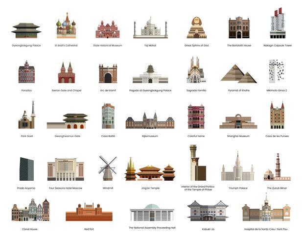 Illustrationssammlung touristische berühmte Marksteine