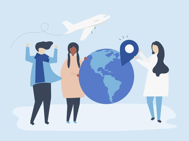 Mensen die verschillende reizen gerelateerde pictogrammen