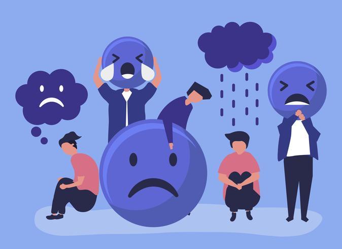Personas con depresión e infelicidad. vector