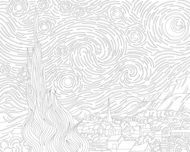 The Starry Night (1889) by Vincent van Gogh: adult coloring page