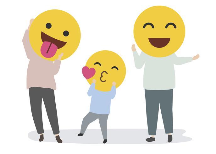 Família feliz com emojis engraçados