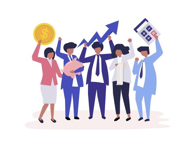 Tekens van zakenmensen en de pictogrammen van de prestatiesgroei