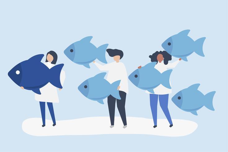 Människor som bär fiskikoner i ledarskapskoncept