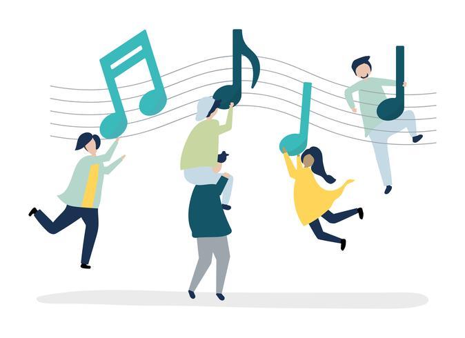 Mensen dansen op de muziek met muzieknoten die in de lucht zweven