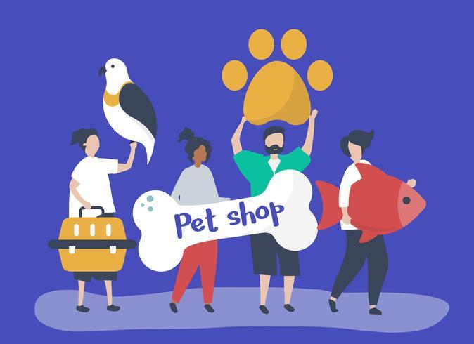 Mensen gaan naar een dierenwinkel