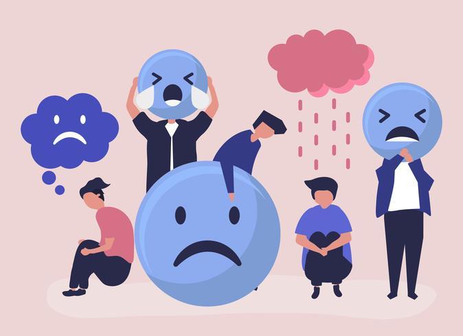 Menschen mit Depressionen und Unglück