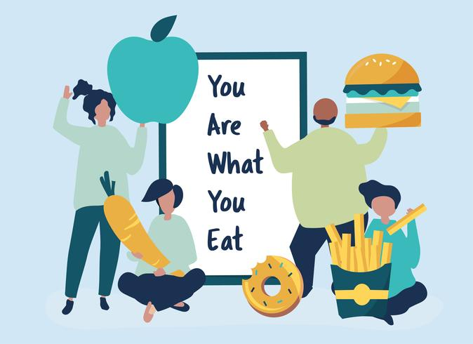 People with food icons illustration