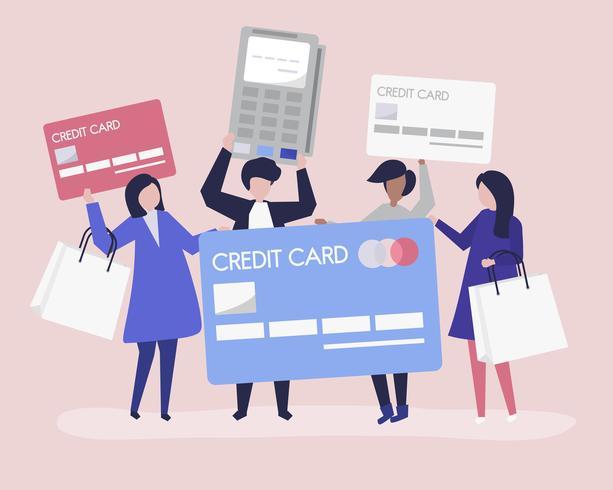 Människor handlar med ett kreditkort