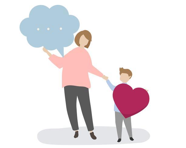 Familie met tekstballon en hart