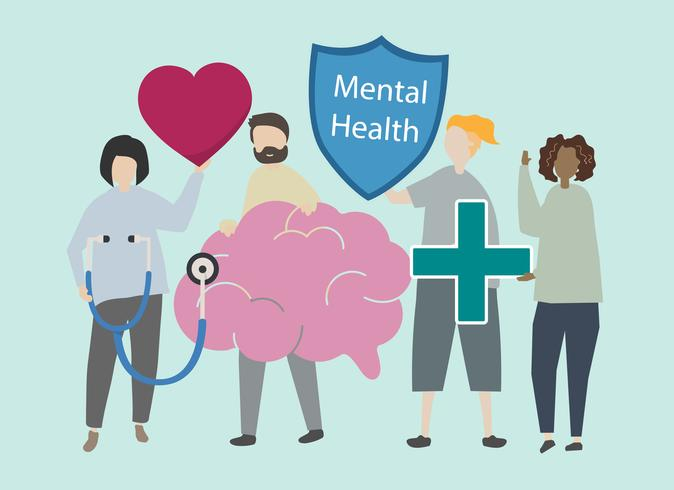 Ilustración de la salud mental y el desorden