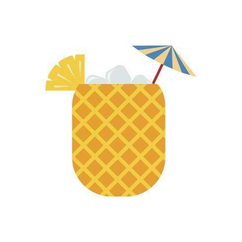 Suco de abacaxi em ilustração gráfica de abacaxi