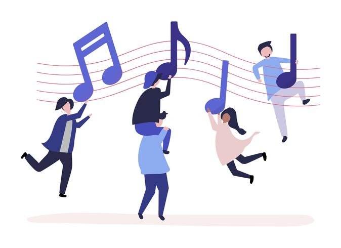 Gente bailando al ritmo de la música con notas musicales flotando en el aire.
