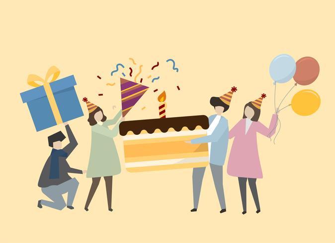Gens heureux célébrant une illustration d'anniversaire