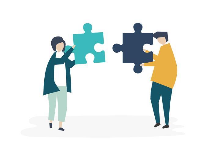 Soulmates verbinden Puzzleteile miteinander