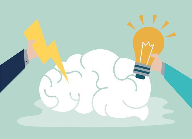 Kreative Idee und denkende Gehirnikone