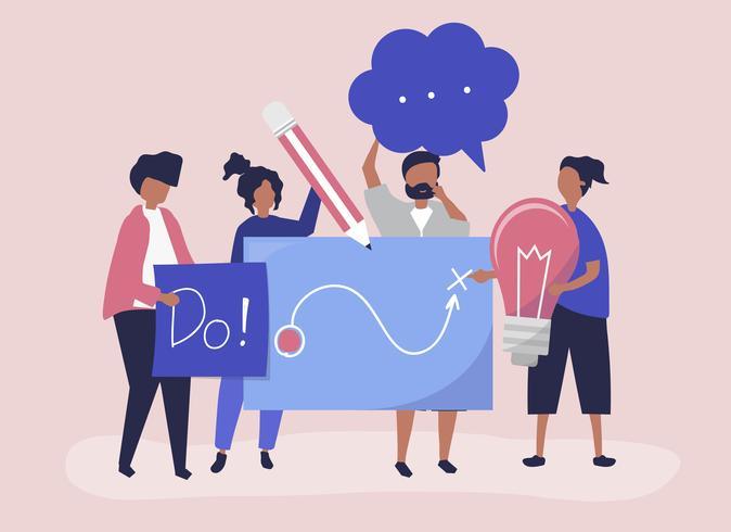 Ilustración de personaje de personas sosteniendo iconos de ideas creativas
