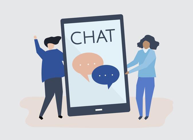 Tecken på ett par och texting koncept illustration