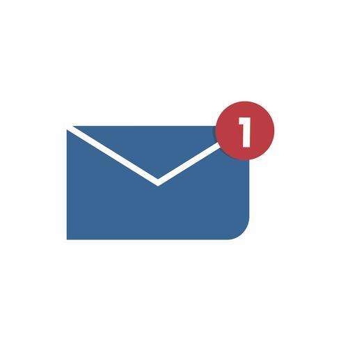 Blauwe envelop met kennisgeving grafische illustratie