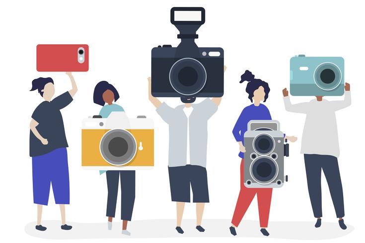 Illustration de personnages de photographes avec appareils photo
